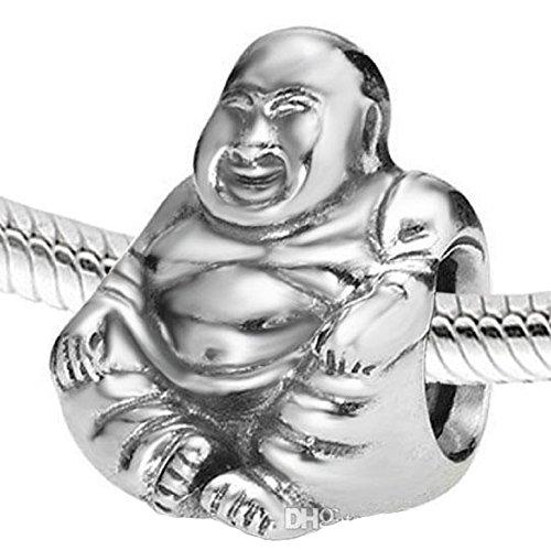 EGB Silver Happy Buddha Charm Disneys Bead Fits Pandora & Similar Bracelet