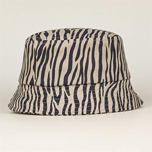 H/A Sombrero de Pescador de Leopardo Sombrero para niños pequeños Sombrero de Sombrero Fresco Lindo HUANH (Color : Zebra Khaki, Size : 54-56cm)