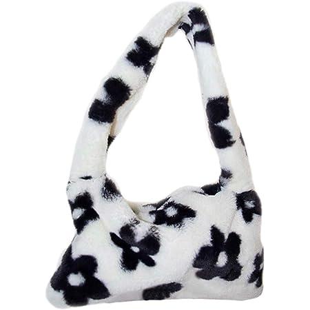 PRETYZOOM Plüsch Umhängetasche Kinder Flauschige Handtasche Damen Winter Schultertasche Mädchen Handytasche Kuh Blumenmuster Tasche Neujahr Silvester Geschenke