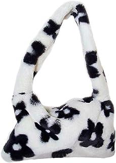 SOIMISS Fuzzy Faux Fur Hobo Bag Plush Flowers Underarm Bag Shoulder Bag Handbag