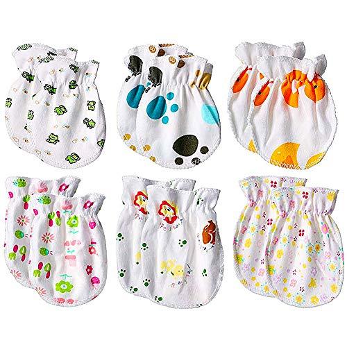 Gants de Protection pour Bébé, 6 Paires de Mitaines pour Bébé Nouveau-né, Gants pour Nouveau-né Pour Garçons et Filles, Gants Anti-rayures, Utilisables de 0 à 6 Mois