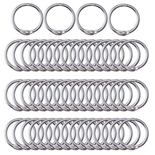 Antner 1 Inch Loose Leaf Binder Rings, 25mm Nickel Plated Metal Book Rings Key Keychain Rings Index Card Rings, 50PCS