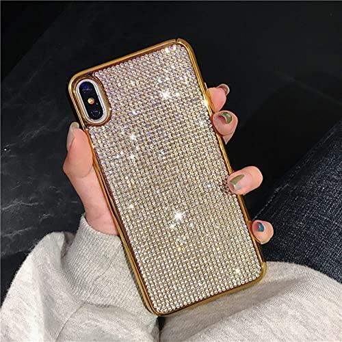 Estuche de Lujo con Diamantes de imitación para iPhone XS MAX X XR 6 S 6S 7 8 Plus 6Plus 6SPlus 7Plus 8Plus Contraportada para teléfono móvil Carcasa Blanda Coque, Dorado, para iPhone 6 6s