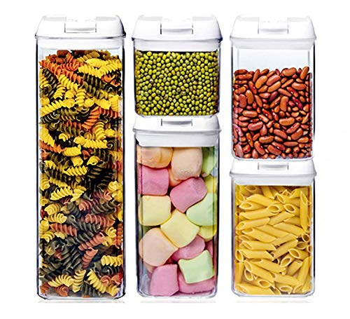 Set 5 Barattoli in Plastica Ambientale, Contenitori per Alimenti Trasparente con Etichetta Capacità Fino a 1,9L, Barattolo Uso Cucina con Larga Bocca Facile Pulizia per Conservazione