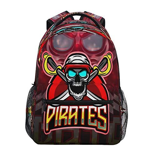 Piratas Enojado Cráneo Rojo Mochila de Estudiantes Hombro Mochilas para Viajes Escolar Niños Niñas