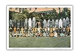 Pacifica Island Art Duke Kahanamoku and Surfing Friends - Original Hand Colored Photograph by Deanna Benatovich c.1930s - Hawaiian Master Art Print - 12 x 18in