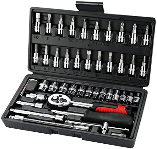 FFVWVGGPAA Multifunktionales professionelles Stahl-Steckschlüssel-Werkzeug-Set Autoreparatur-Werkzeugkasten Auto- und Motorradwerkzeuge 46Pcs 1016