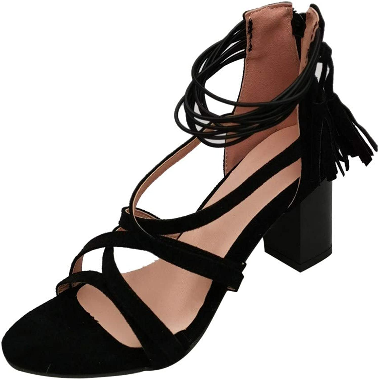 BESSKY Women Fashion Thick Heel Cross Strappy Tassel High Heels shoes Lace-Up Sandals
