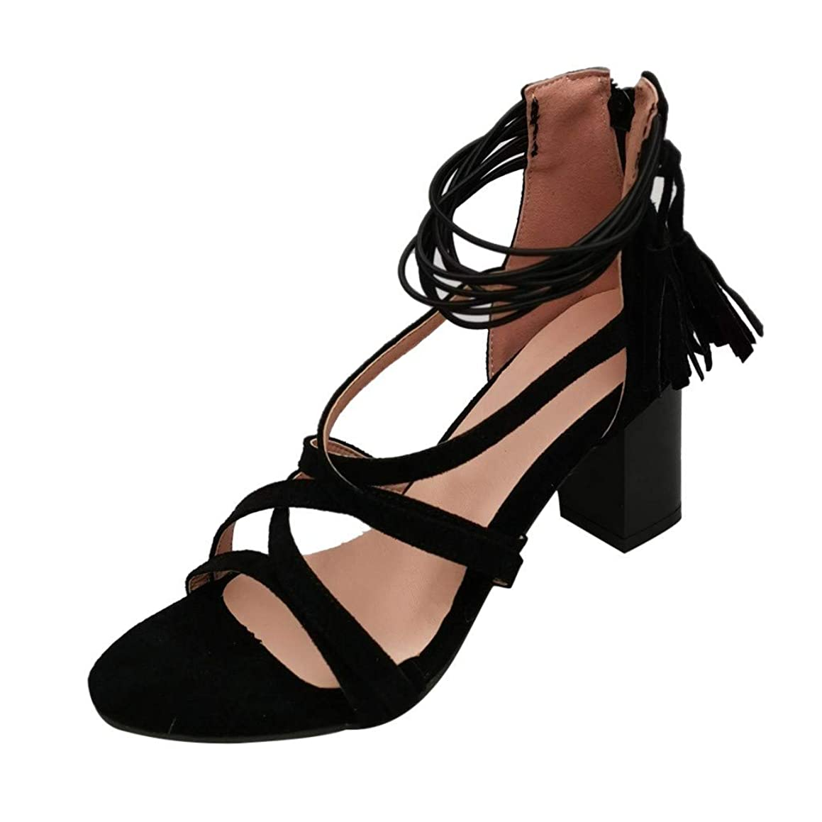 Londony Women's High Heels Cutout Lace up Sandal Comfortable Strappy Chunky Block Ankle Strap Open Toe Heeled Sandals