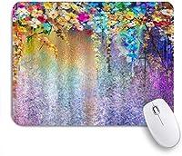 EILANNAマウスパッド 色とりどりの花の葉の花の水彩画 ゲーミング オフィス最適 おしゃれ 防水 耐久性が良い 滑り止めゴム底 ゲーミングなど適用 用ノートブックコンピュータマウスマット