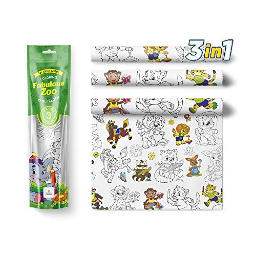 Kids Coloring Tablecloth 3pc Activity Set Zoo Animals – 3 in 1 Big Square Color In Draw On Table Cloths for Children
