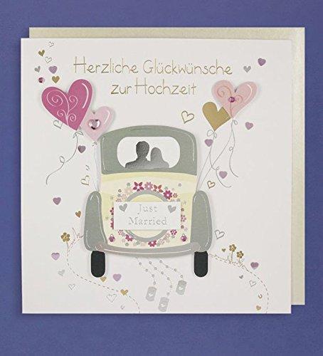 Hochzeit Grußkarte Handmade Applikation Glückwünsche Just Married Hochzeit Auto mit Herzen 21x21cm Plus 3 Sticker