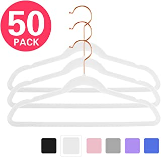 """MIZGI Premium Kids Velvet Hangers (Pack of 50) 14"""" Wide with Copper/Rose Gold Hooks,Space Saving Ultrathin,Nonslip Hangers use for Petite Junior Children's Skirt Dress Pants,Clothes Hangers-White"""