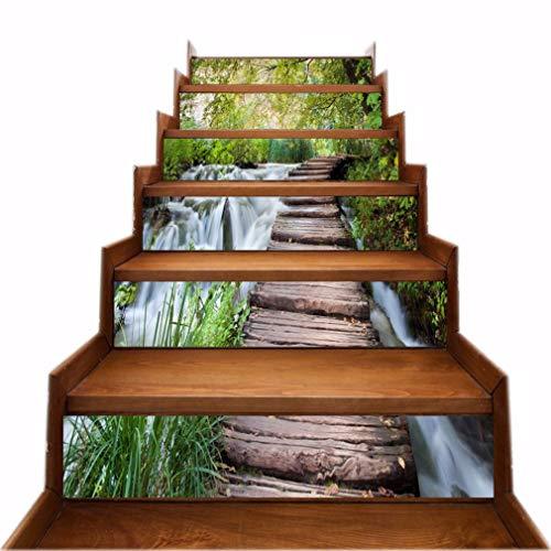 A.Monamour Autocollants d'escalier Auto-adhésifs 3D Pont En Bois Cascade Arbres Vinyle Imperméable Sticker Contremarche d'escalier Sticker Carrelage Sticker Mural Autocollant Mural Art Décor DIY