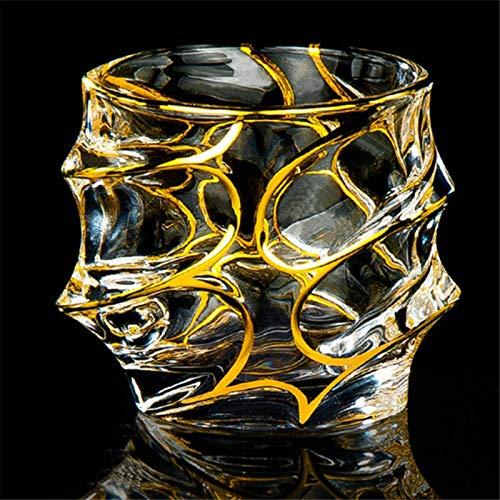 KAYBELE Vidrio Golden Wide Rim Crystal Whiskey Glass Glass Gafas Whisky Chivas Vino Taza de Vino para Barra de Bar (Color : Style 8)