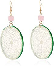 Lizzyoftheflowers - Large and juicy looking fruit earrings. Dangling lime slice on gold tone hooks