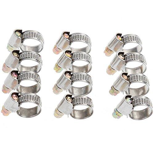 Rovtop 12 Stück Schlauchschellen Set Spannbereich 8-16 mm Bandbreite 9 mm