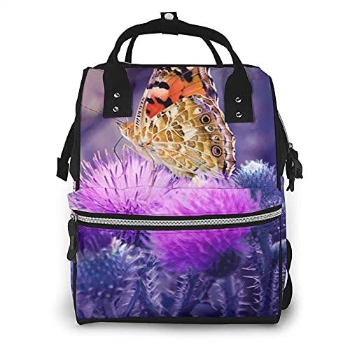 Bolso de pañales de maternidad con flores de mariposa multifunción para el cuidado del bebé, mochila de viaje abierta impermeable para la organización