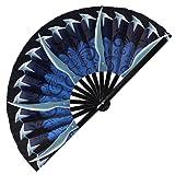 Kitana Fan Folding Fan UV Glow Hand Fans Cosplay Outfit Halloween Kitana Weapon Bamboo Fan Kitana Cosplay (Style 1)