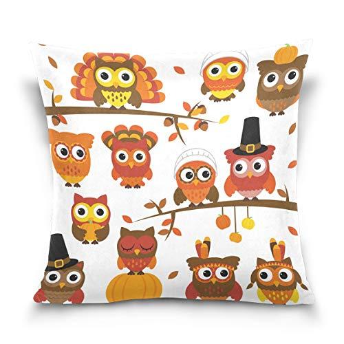 CaTaKu Happy Acción de Gracias funda de almohada de algodón, 45,7 x 45,7 cm de doble cara, diseño de búho, funda de almohada decorativa para el hogar, hotel, sofá Ded