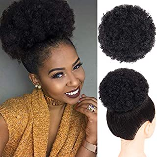 Afro Puff Drawstring Ponytail Synthetic Short Kinky Curly Wig Black Ponytail for Natural Hair Afro Buns Wrap Updo Hair Extensions with 2 Clips (5008-Black)