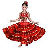 Girls Spanish Flamenco Skirt Gypsy Belly Dancer Performance Costume Set 4-11 Years 180 Degree 8-12