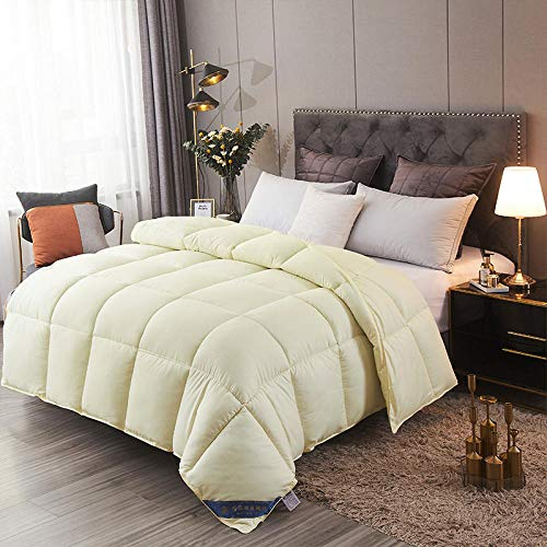 Hahaemall Winter Duvet King Size Natural White Goose Down Duvet - White Goose Downfilled Winter Duvet Quilt - Classic -Anti-Allergy - Cooling - Duvet Quilt-Yellow_150x200cm-3Kg