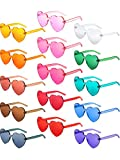 Gejoy Heart Shaped Love Rimless Sunglasses One Piece Transparent Candy Color Frameless Glasses Tinted Eyewear Thick Slices (15 Pairs Color H)