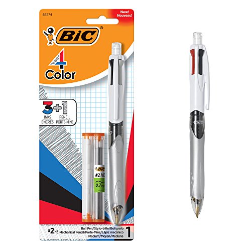 BIC 4-Color 3+1 Ballpoint Pen and Pencil, Medium Point (1.0 mm), 0.7mm Lead, Assorted Inks, 1-Count