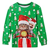 TUPOMAS Teen Boys Ugly Christmas Sweater Party Clothes Graphic Hilarious Sweatshirts Cute and Comfy Santa Xmas Cat Riding Motorcycle Coat Funny Pattern Tops Size 10-12 Years Old