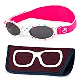 Baby Sunglasses 0-6, 6-12 month - Age 3 Years | Infant, Toddler Girl & Boy Sun Glasses with Adjustable Strap, Baby Beach Gear | UV 400 Protection | Soft Rubber Frame Sunshades with Case (white)