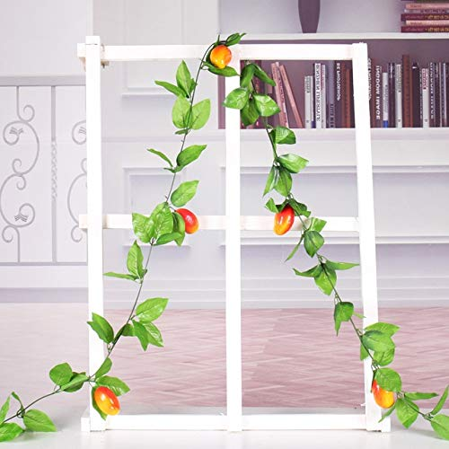 GGDMLJH Artificial fake flower Fruit Garlands Artificial Plant Leaves Vines Home Hotel Fruit Store Decoration Backdrop Table Small Cherry Apple Orange Big mango