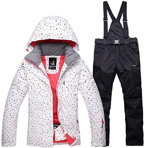 Mitef Wasserdichte, winddichte Outdoor-Schneeanzug, Jacke und Hose für Damen - Wei� - Klein
