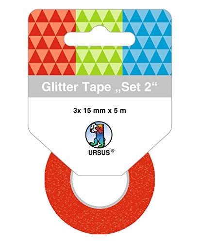 Ursus 58830002 Glitter Tape Set, 3 Rouleaux de 15 mm x 5 m, Rouge/Vert/Bleu