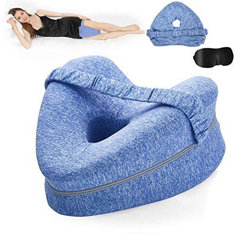 BEAUTRIP Beinkissen | ergonomisches Seitenschläferkissen für optimale Unterstützung | Memory Foam Knie Kissen für Seitenschläfer | Lagerungskissen mit Abnehmbarem Bezug (Blau mit Extra Kissenbezug)