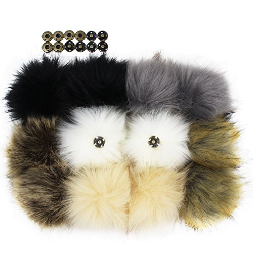 12pcs Faux Fox Fur Pom Pom with Press Button Removable Knitting Hat Accessories 4.3 Inches
