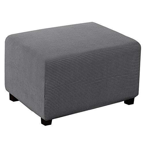 Stretch Ottoman Cover Oversize Large Ottoman Slipcover Sofa Cover Footstool Protector Storage Ottoman Covers Furniture Protector Soft Rectangle Slipcover with Elastic Bottom (X-Large, Gray)