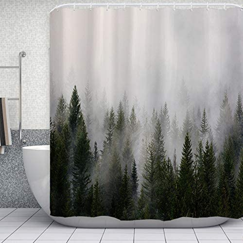 ORTIGIA Misty Forest Shower Curtains Nature Shower Curtain Woodland Shower curtain Fantasy Fog product image