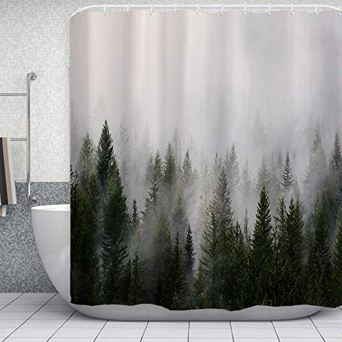 """ORTIGIA Misty Forest Shower Curtains,Nature Shower Curtain,Woodland Shower curtain,Fantasy Fog Magic Tree Bath Curtain for Bathroom,Fall Shower Curtain,Waterproof Polyester Fabric-72""""Wx72""""L-with Hooks"""