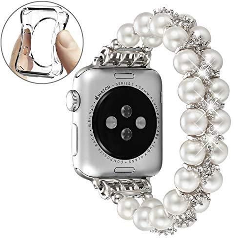 fastgo kompatibel mit Apple Watch-Armband, 38 mm, 40 mm, 42 mm, 44 mm, handverlesene künstliche Perlen, elastisches Stretch-Armband, kompatibel mit iwatch Serie 5/4/3/2/1, Damen, reinweß, 42mm/44mm
