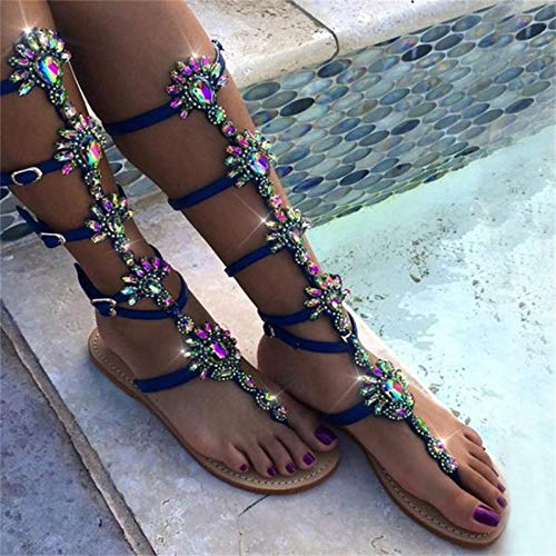 GUOL Women Knee High Gladiator Sandals,Strappy Beach Flat Shoes Cut Out Lace Up Boots, Gladiator Sandals For Women Knee High Flat, Gladiator Sandals For Women Knee High Flat 37 blue
