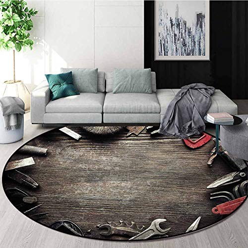 Best Price! RUGSMAT Industrial Non Slip Round Rugs,Grungy Tools Baby Room Decor Round Carpets Diamet...