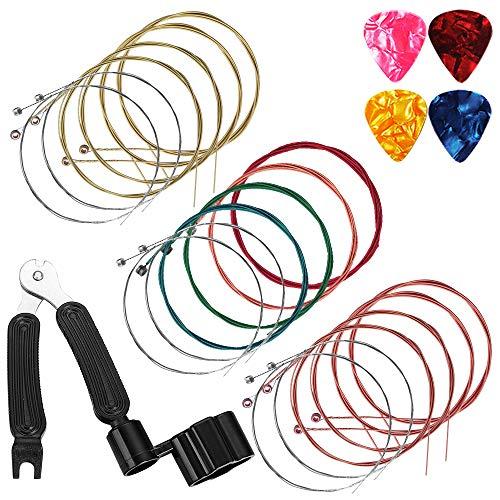 Corde per chitarra acustica 6 corde Set di 3, maxin Set di corde per chitarra Corda in acciaio di ricambio per chitarra acustica con avvolgitore per corde, plettri per chitarra
