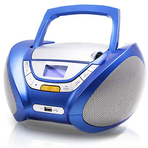 Lauson CP546 Portable Stereo Boombox CD Player with Radio | USB & MP3 Player | Boombox with Cd Player Mp3 | Portable Radio CD-Player Stereo with USB | Aux Line-in & Headphone Jack (Blue)