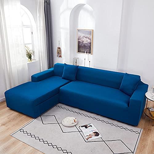 Funda Sofas 2 y 3 Plazas Azul Marino Fundas para Sofa con Diseño Elegante Universal,Cubre Sofa Ajustables,Fundas Sofa Elasticas,Funda de Sofa Chaise Longue,Protector Cubierta para Sofá