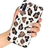 Leopard Case for Galaxy Note 10 Plus,J.west Cute Luxury Fashion Case for Girls Women Matte Slim Soft TPU Silicone Protective Phone Case Cover for Samsung Galaxy Note 10+ Plus White Leopard Pattern