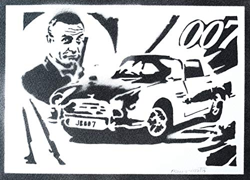 Poster James Bond 007 Sean Connery Handmade Graffiti Street Art - Artwork