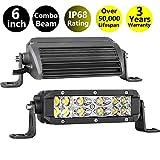 Moso LED LED Light Bar, 2 pcs 6 inch LED Pods OSRAM Work Light Spot Flood Combo Light Fog Light Driving Light Offroad Light Bar for Truck ATV UTV SUV Marine Boat Jeep Tractor