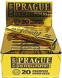 Prague Filters & Papers Hemp Set de 40 piezas de papel para liar cigarrillos Kingsize Slim más 50 piezas de filtros de liar cigarillos, de primera calidad. Caja de 20 piezas de set