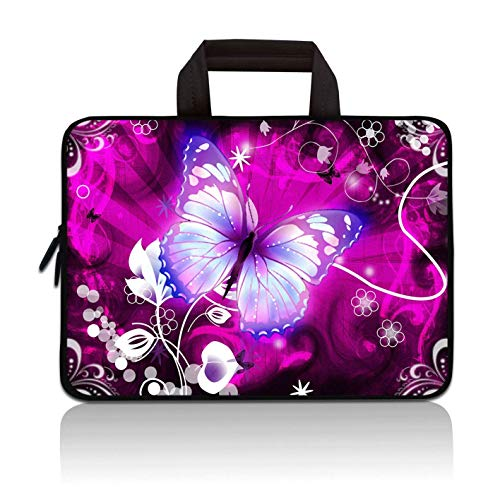11' 11.6' 12' 12.1' 12.5' inch Laptop Carrying Bag Chromebook Case Notebook Ultrabook Bag Tablet Cover Neoprene Fit Samsung Google Acer HP DELL Lenovo Asus (11 11.6 12.1 12.2 inch, Purple Butterfly)